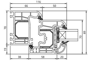 GL-System Iglo 5 Classic Schnitt - Flächenbündig - 5 Kammer Fensterprofil Drutex S.A. Kunststofffenster Fenster