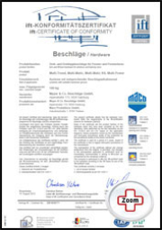 Maco Zertifikat - Maco Beschlag - ift Zertifikat - Fenster - Drutex S.A. - B&F Fensterhof