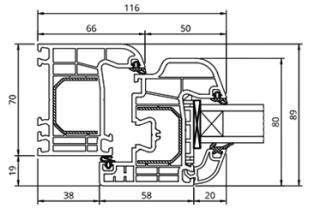 GL-System Iglo 5 Schnitt - Halbflächenversetzt - 5 Kammer Fensterprofil Drutex S.A. Kunststofffenster Fenster