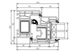 Schnitt Iglo Energy - Flächenbündig - Drutex Fenster - Fensterprofil - 7 Kammer - Passivhaus - Kunststofffenster - GL-System
