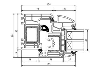 Schnitt Iglo Energy - Halbflächenversetzt - Drutex Fenster - Fensterprofil - 7 Kammer - Passivhaus - Kunststofffenster - GL-System