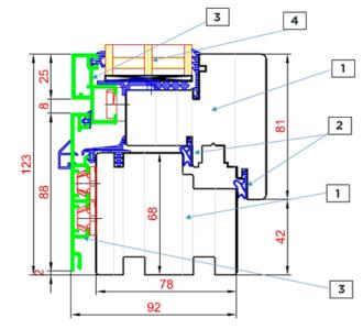 Schnitt Drutex Fensterprofil Duoline - Holz Aluminium Fenster - Fenster - Balkontür