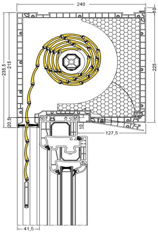 Aufsatzrollladen Schnitt Kastenhöhe 215 mm - Rollladen der Firma Drutex S.A. - Aluprof S.A. - Jalousie Fensterhof