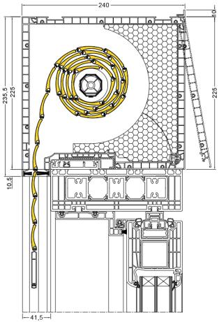 Aufsatzrollladen Schnitt Kastenhöhe 210 mm - Rollladen der Firma Drutex S.A. - Aluprof S.A. - Jalousie Fensterhof