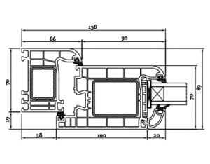 Schnitt Drutex Haustür Profil - Iglo 5 Türen - Haustüren - Eingangstüren - Aussentüren