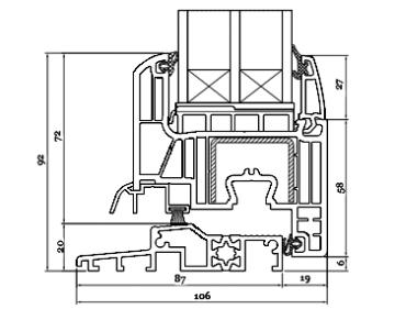 Schnitt Drutex Haustür Profil - Iglo Energy Türen - Haustüren - Eingangstüren - Aussentüren - Passivhaus