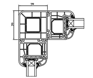 Eckkopplung 90° - Kopplung - Kopplungsprofil - Kunststoffprofile - Drutex S.A.