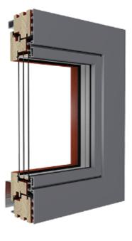 PSK Schiebetür aus Holz mit Aluminiumverschalung außen - Duoline HS