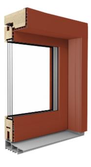 Hebe- Schiebetür aus Holz mit Aluminiumverschalung außen - Duoline HS